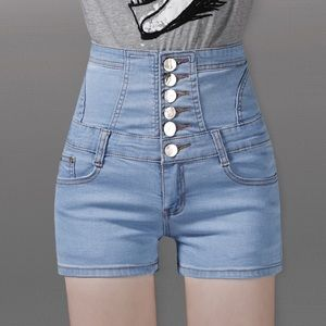 Blue body shape tight buttons short jeans